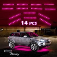 PINK 14pcs Three Mode LED Undercar Neon Accent light Kit Waterproof Ultra Bright + Plug & Play All Accessories Included