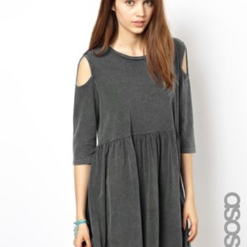 ASOS TALL Smock Dress With Cold Shoulder - Gray