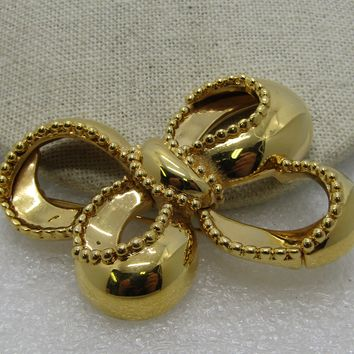 """Vintage Monet Bow Brooch, 1970's-1980's, Gold Tone, 2.25"""""""