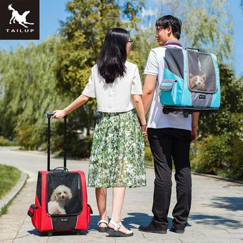 TAILUP Small Pet Wheel Carrier Dog Cat Portable Strollers Backpack Breathable Puppy Roller Luggage Car Travel Transport Bag