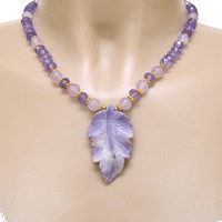 Amethyst Carved Leaf Pendant Gold Handmade Necklace | DoubleSJewelry - Jewelry on ArtFire