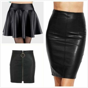 Women Girl Sexy High Waist PU Leather Skirt Zipper Mini Skirt Casual Party Skirt