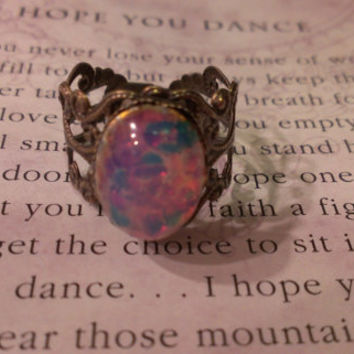 Handmade Faux Fire Opal Filigree Ring- Adjustable