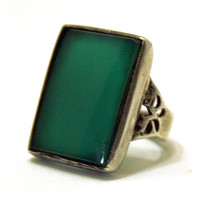 Antique Art Deco Ring Sterling Silver Green Czech Glass Vintage Ladies Ring 1920s Art Deco Jewellery