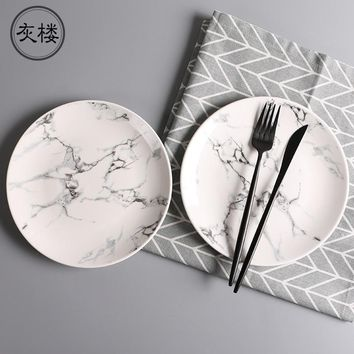 8inch Creative marble Japanese style ceramic plates steak Western food dishes