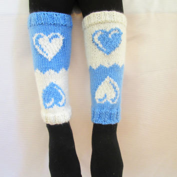 Valentine's Day Gift, Boot cuff, Knitted boot cuffs, White, Blue,  Two in One, Leg Warmer, Very Long Cuff, Garnished with heart pattern.