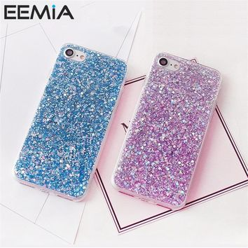 EEMIA Phone Cases Hoesjes For iPhone X Case Glitter Bling Soft TPU Cover For iPhone 8 Plus 8 7 6 6s Plus 5 5s Crystal Case Coque