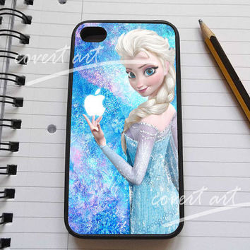 Beauty disney frozen elsa and logo apple for iPhone 4 / 4S / 5 Case Samsung Galaxy S3 / S4 Case