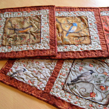 Placemats Set Of Four Birds Woodland