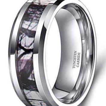 CERTIFIED 6mm 8mm Tungsten Camouflage Rings Wedding Band