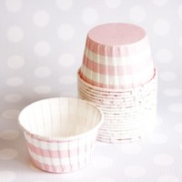 Shop Sweet Lulu - Candy Cups: Carnation Pink Horizontal Stripes