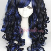 Lolita Long Curly Women Colorful Cosplay 3 Pieces Ponytails Wig Set Full Wigs (Black blend blue)