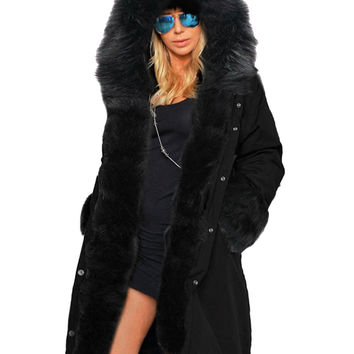 Casual Long Sleeve Thick Faux Fur Coat
