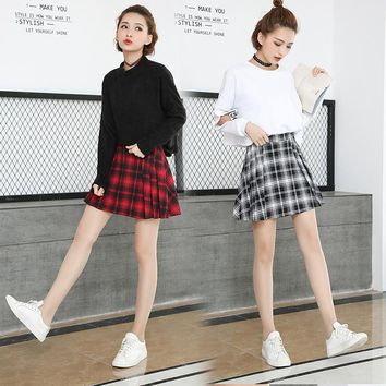Women Pleat Skirt Harajuku Preppy Style Skirts Mini Cute School Uniforms Ladies Jupe Plaid Kawaii Skirt Saia Faldas SK1721
