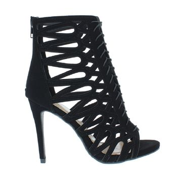 Strappy Caged Heel Sandal (BLACK)