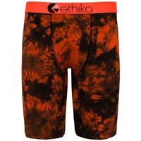 Ethika Men's Black Orange Tye Dye The Staple Fit Boxer Briefs Underwear