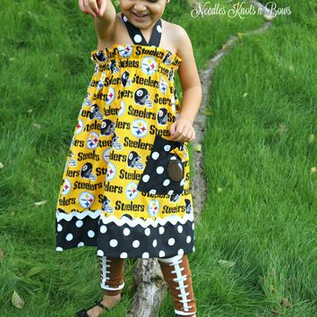 Girls Pittsburgh Steelers Cheerleader Dress, Baby Girls Football Game Day Dress, Sizes NB - 10