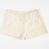 Full Tilt Crochet Womens Shorts Cream  In Sizes