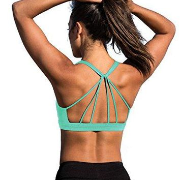 Padded Strappy Sports Bra Yoga Tops Stylish Activewear Workout Clothes for Women