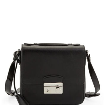 Prada Saffiano Small Sound Crossbody Bag, Black (Nero)