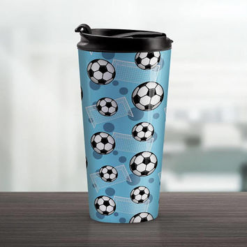 Blue Soccer Travel Mug - Sports Pattern with Soccer Balls and Goals over Blue - 15oz Stainless Steel - Made to Order