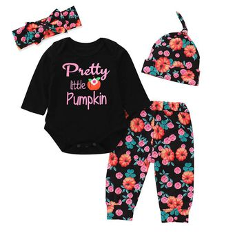 Newborn Baby Girls Clothes Set Letter Romper Tops Pumpkin Prin Pants Cap 3Pcs Toddler Girl Halloween Costume Clothing Set Outfit