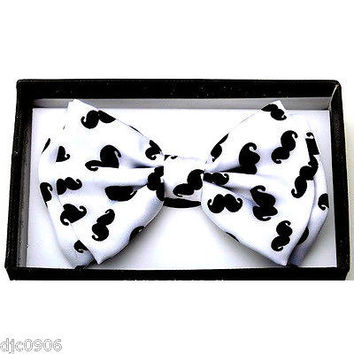 White & Black Mustaches Adjustable Bow tie Bowtie-Colored Mustache Bow Tie-New!