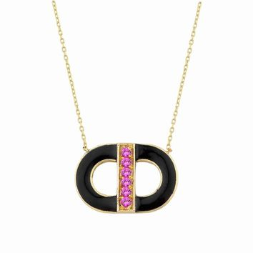 14K Hittite God Necklace with Pink Sapphire & Enamel