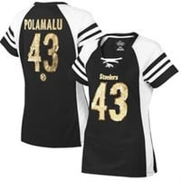 Women's Pittsburgh Steelers Troy Polamalu Majestic Black Draft Him IV T-Shirt