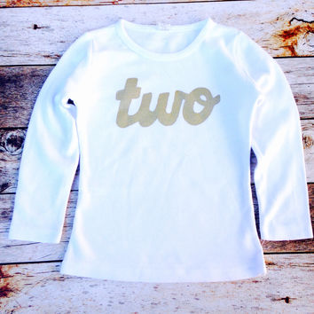 long sleeve white with gold glitter girls 2nd Birthday shirt sparkle two