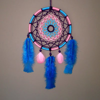 6 inces Pink and Blue Dreamcatcher - Flower Mandala Hippie Bohemian Home Decor - Wall Hanging Dream Catcher - Flower Power Wall Decoration
