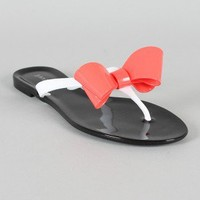 Bamboo Elmas-06 Jelly Bow Colorblock Thong Flat Sandal