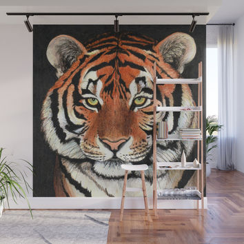 Tiger portrait drawing Wall Mural by savousepate