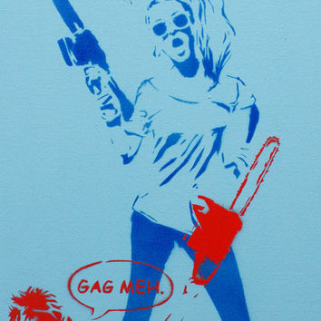 VALLEY GIRL GANG Wars 2 Original Painting 9x20 on Canvas Graffiti Street Art Pop Art Stencil Spray Paint Acrylic Paint Original Artwork 80s