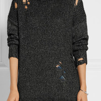 R13 - Distressed mélange knitted sweater