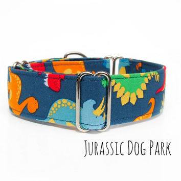 Navy Dinosaur Dog Collar, martingale buckle or tag collar, 1 inch 1.5 inch 2 inch wide custom size, small dog, whippet, greyhound, canada