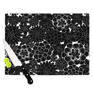 "Julia Grifol ""Flowers in White & Black"" Black White Cutting Board"