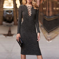 Dark Brown Lace-up Front Ribbed Bodycon Midi Dress
