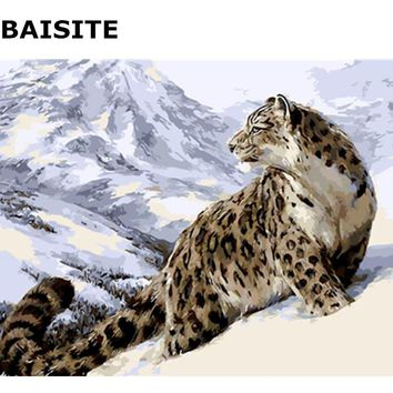 BAISITE DIY Painting By Numbers Frameless Wall Art Leopard Hand Painted Oil Painting On Canvas Home Decor Unique Gift E517