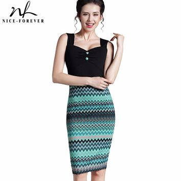 Nice-forever New Summer Lady Sweat-heart Neck Gather Button Knee length sleeveless Business Office Casual Midi Pencil Dress B302
