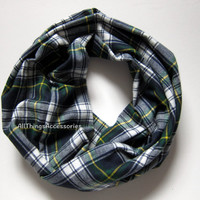 Green Navy Flannel Plaid Infinity Scarf