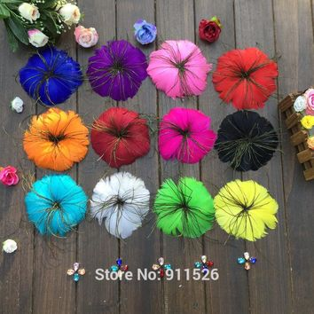 Free shipping / 10-12cm Wedding hair accessory,Fashion feathers,flower hair clip,Brooch and Pin, bridesmaid fascinator10pcs