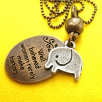 Elephant Cute Animal Round Pendant Necklace in Bronze with Quote