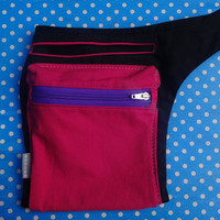 Girls Fuchsia Black Hip Bag, Back to School Bag,Girls Fanny Pack,  Belt Pocket, Violet YKK Zipper