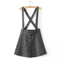 Plaid Straps Button Skirt