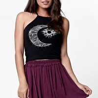 LA Hearts Moon & Sun Goddess Neck Cropped Muscle Tank Top - Womens Tee - Black