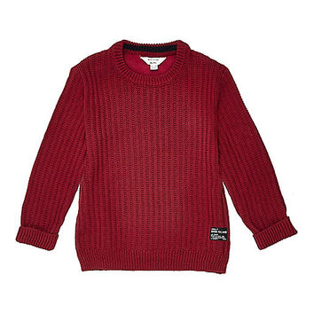 Mini boys red ribbed crew neck jumper