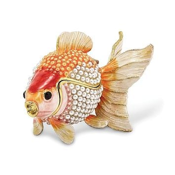 Bejeweled & Simulated Pearls Goldfish Trinket Box with Charm Pendant