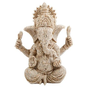 SUNYIK Sandstone Ganesha God of Success Statue,Hindu Elephant Hand Carved Sculpture Figurine