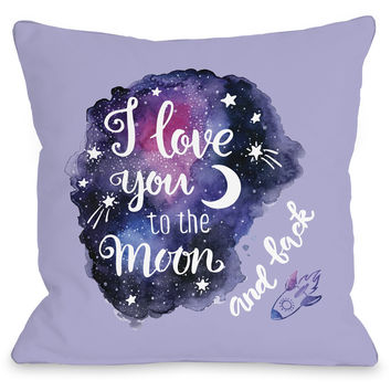 """Love You To The Moon And Back"" Indoor Throw Pillow by OneBellaCasa, 16""x16"""